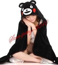 Japanese Anime kumamon Blanket Cosplay Soft Plush Black Cloak Unisex Cape New