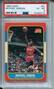 1986 Fleer Basketball #57 Michael Jordan Rookie Card RC Graded PSA EX MINT 6