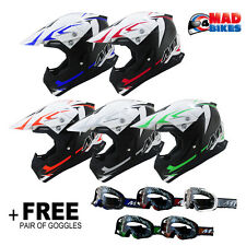 MT Synchrony Steel MX Motocross Off Road Motorcross Crash Helmet + Free Goggles