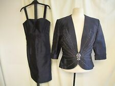 Ladies Outfit Social Occasion UK 6 - jacket & dress, navy, jeweled detail 2109