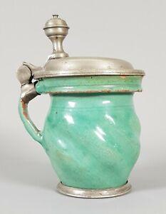 Schöner kleiner Krug, Keramik / Zinn., runder Daumenrast Standring  Ø8 x 12,5 cm