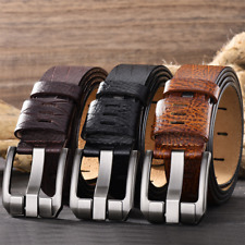 Waistband Casual Genuine Belts Business Men's Retro Leather Belt Buckle Pin