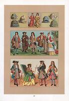 Vintage Moda Costume Stampa ~ 17th Secolo Francia Tribunale Di The Sole King