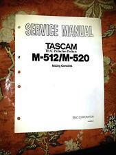 TEAC TASCAM M-512 / M520 M512 REPAIR / SERVICE MANUAL only