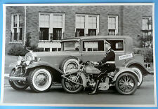 """12 By 18"""" Black & White Picture 1931 Cadillac 4 Door With Cycle Service Vehicle"""