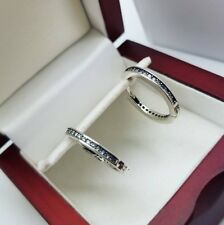 White gold finish created diamond huggie hoop earrings free postage gift idea