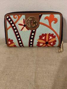 "Spartina 449 Daufuskie Island Wallet  ""Waving Girl"" Floral Linen/leather Design"