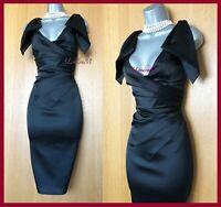 Karen Millen UK 12 Black Origami Satin Knee Length Wedding Cocktail Dress EU 40