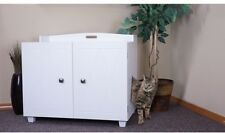 FurHaven White Bench Hidden Kitty Litter Box Enclosure