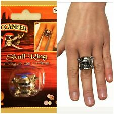 Rubie's Costume Co Adjustable Skull Ring with Pewter Finish