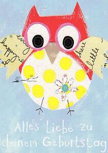 Kunstkarte/ Postcard Art - Alles Liebe zu deinem Geburtstag / Karte mit Glitzer