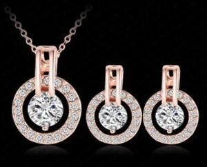18K REAL GOLD FILLED NECKLACE EARRINGS  SET MADE WITH SWAROVSKI CRYSTALS NS