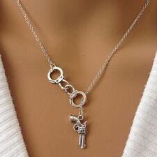 UK GUN & HANDCUFF PENDANT NECKLACE Pistol Silver Chain Bling Jewellery Gift Idea