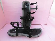 Jambu 10 M Sport Leather Sandals Black Women's Thong Shoes