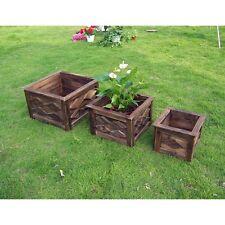 Square Wood Planter - Set of 3, Brown