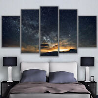 Starry Night Sky Landscape Framed 5 Panel Canvas Print Wall Art Painting Decor