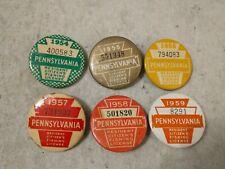 Six Pennsylvania Resident Citizen's Fishing Licenses: 1954 through 1959