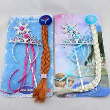 Anna&Elsa Frozen Movie Wig Braid Magic Wand Crown Cosplay Set Costume Snow Queen
