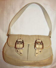 Cole Haan Amanda Canvas tan and gold lizard skin embossed leather shoulder bag