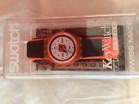 Swatch Watch SKI PATROL SKO100 1998 Orange And Black NIB Never Worn Vintage New
