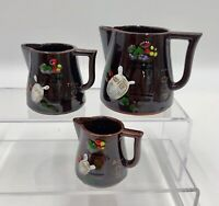 Set (3) Vintage Measuring Cups Brown Lusterware Del Coronado Nasco Japan NICE!