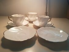 Vintage White Gold Rim Rosina Bone China Tea 3 Cups and 5 Saucers Made England