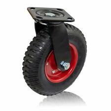 Houseables Caster Wheel 8 Inch 1 Wheel Red Rim Rubber Cast Iron Large