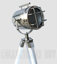 Nautical White Tripod LED Floor Searchlight Vintage Chrome Finish Beautiful LED