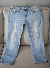 LA IDOL Women Capri Light Blue Jeans with Crystals Size 3 W:28 L:18