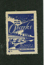 Vintage Poster Stamp Label Play in the OZARKS Playgrounds Assoc Joplin MO #IM