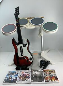 Wii Rock Band Bundle: 4 Games +Wired Drums, Sticks, Mic, Pedal, Wireless Guitar