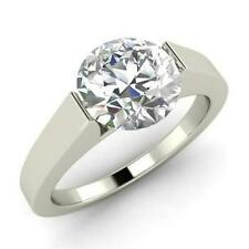 White Gold Finish Engagement Ring 2Ct Solitaire Moissanite Rings Round Cut 14k