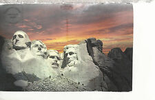 Mount Rushmore Silhouetted by a Sunset Black Hills Sd Chrome Postcard 2267