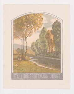 OTTO KREBS: EX LIBRIS for HERMAN JUNGE SWISS c 1915 COLOUR WOODCUT LANDSCAPE