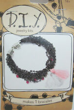 DIY Bracelet Jewelry Kit -  Dark Blue Glass bead Cord bracelet