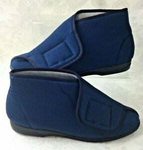 Balmoral Bootie Slippers Size 8 / EU 42 Navy Blue Hook Loop NEW Made in GB V154