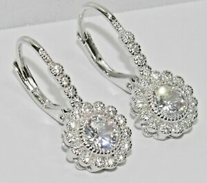 STERLING SILVER 925 SPARKLING ZIRCONIA HALO CLUSTER LADIES EARRINGS