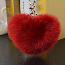 Cut Rabbit Fur Heart Ball PomPom Charm Car Keychain Handbag Pendant Key Ring
