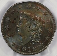 1818 1c Coronet Head Large Cent PCGS MS 63 BN