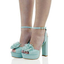 1f1e73835959 Womens High Heel Platform Sandals Ladies Block Ankle Straps PEEP Toe Shoes  Size UK 4