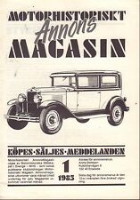 Motorhistoriskt Magasin Annon Swedish Car Magazine 1 1985 Ford 032717nonDBE