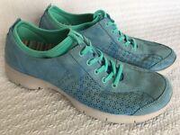 Dansko Elise Blue Aqua Suede Leather Womens Shoes Comfort Lace Up Size 42
