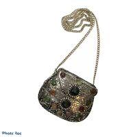 Vintage A' Sajai Sajai Metal Purse with Natural Agate Stones & Chain Strap