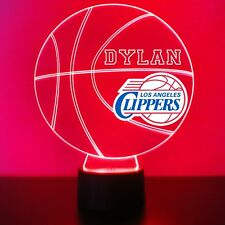 Los Angeles Clippers Night Light Personalized FREE NBA Basketball Light Up LED
