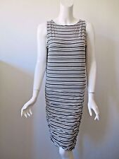 ATHLETA Light Black Stripe Ruched Sides Stretch Sporty Casual Tank Dress S