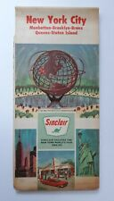 1964 New York City Road Map Sinclair Oil