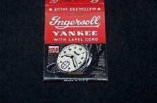 VINTAGE MATCHBOOK COVER-INGERSOLL AERO WRIST WATCH-YANKEE POCKET WATCH