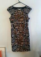 Maggy London Animal Print Cap Sleeve Knit Sheath Dress Women's Size 6