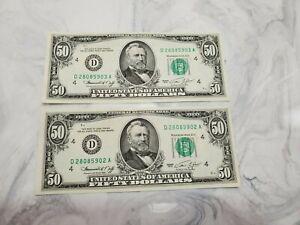 1974 $50.00  2 Sequential/Consecutive Federal Reserve Notes Crisp UNC