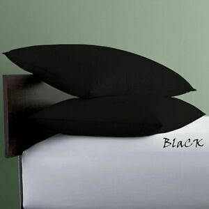 """2 PC Pillow Cases Black Solid King 20""""x30"""" Size 600 Thread Count Egyptian Cotton"""